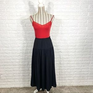 Vintage ejm Black Pleated Maxi Skirt
